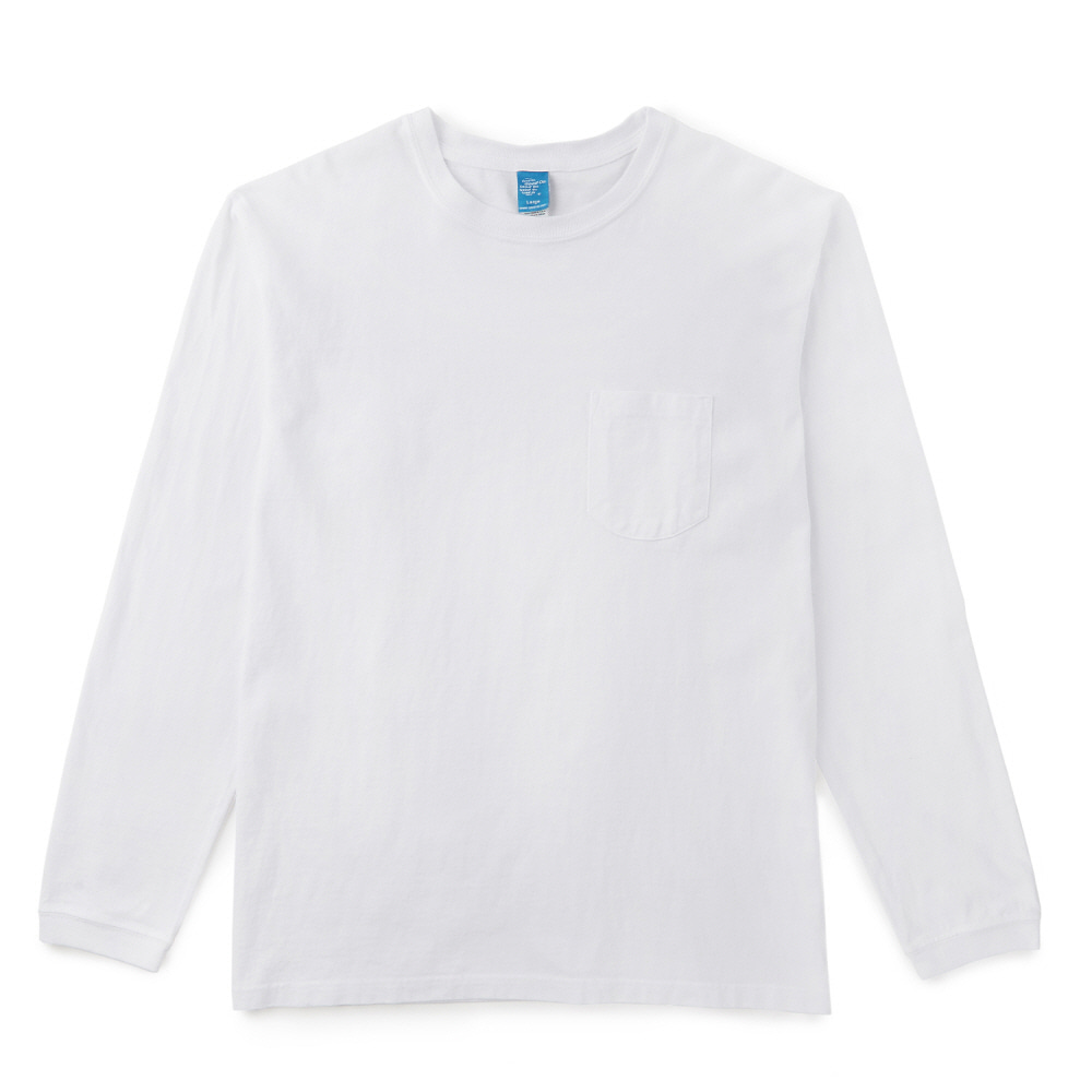 5.5oz 포켓 긴팔 티셔츠 - 화이트