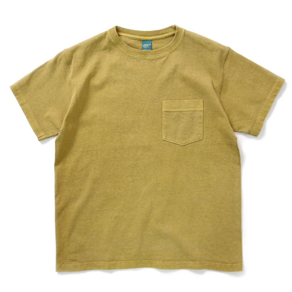 5.5oz 포켓 반팔 티셔츠 - 피그먼트 바나나