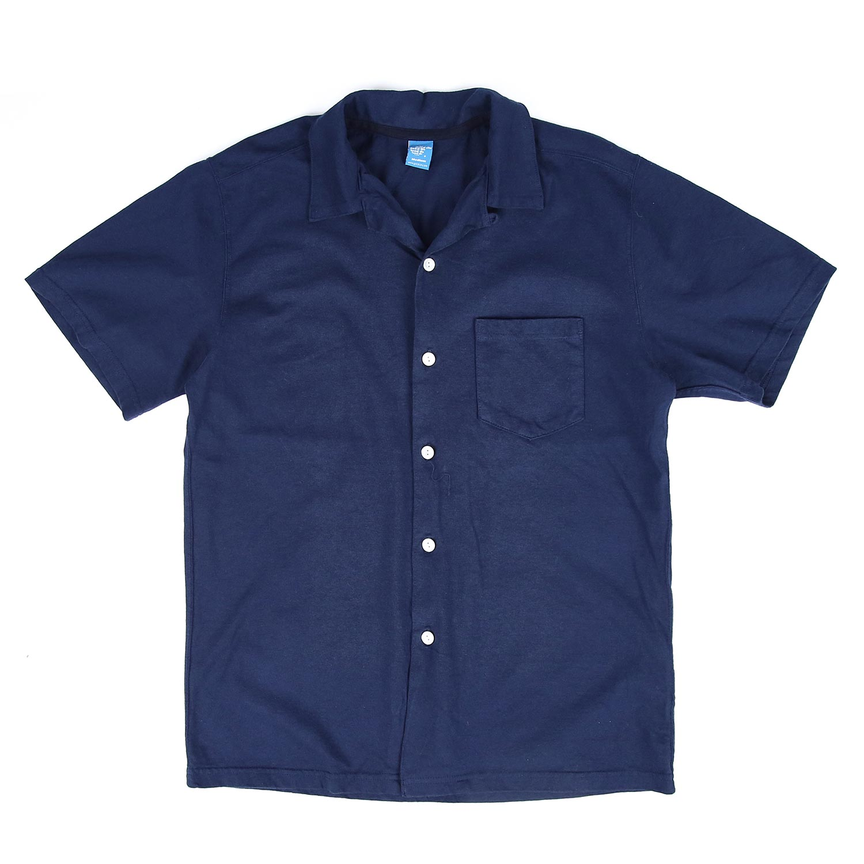 굿온 오픈 카라 반팔 셔츠 - 네이비