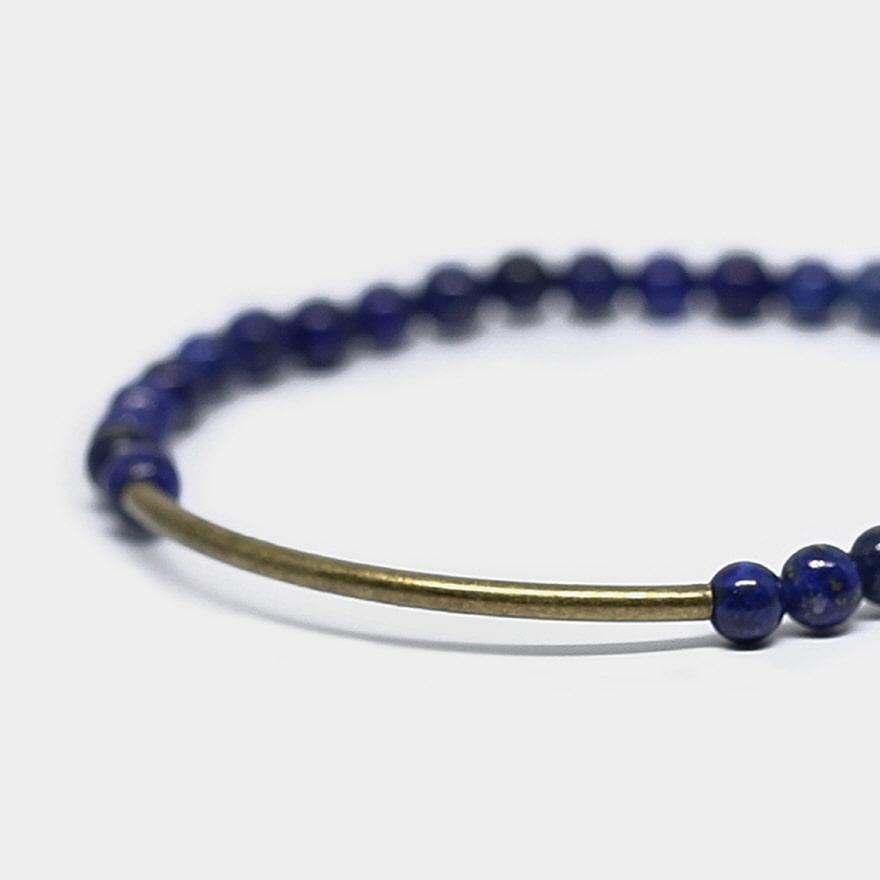 Tubular Bracelet_Brass - Blue Lapis