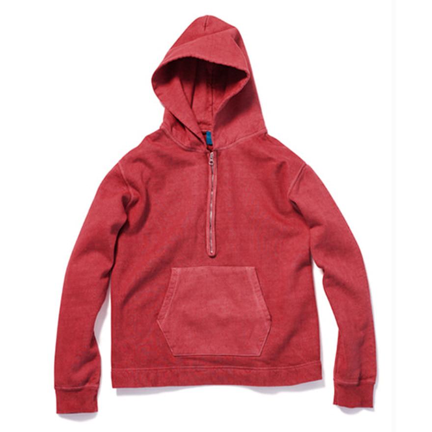 굿온 Rough 1/2 Zip Po Hood Sweat - P-F.Red