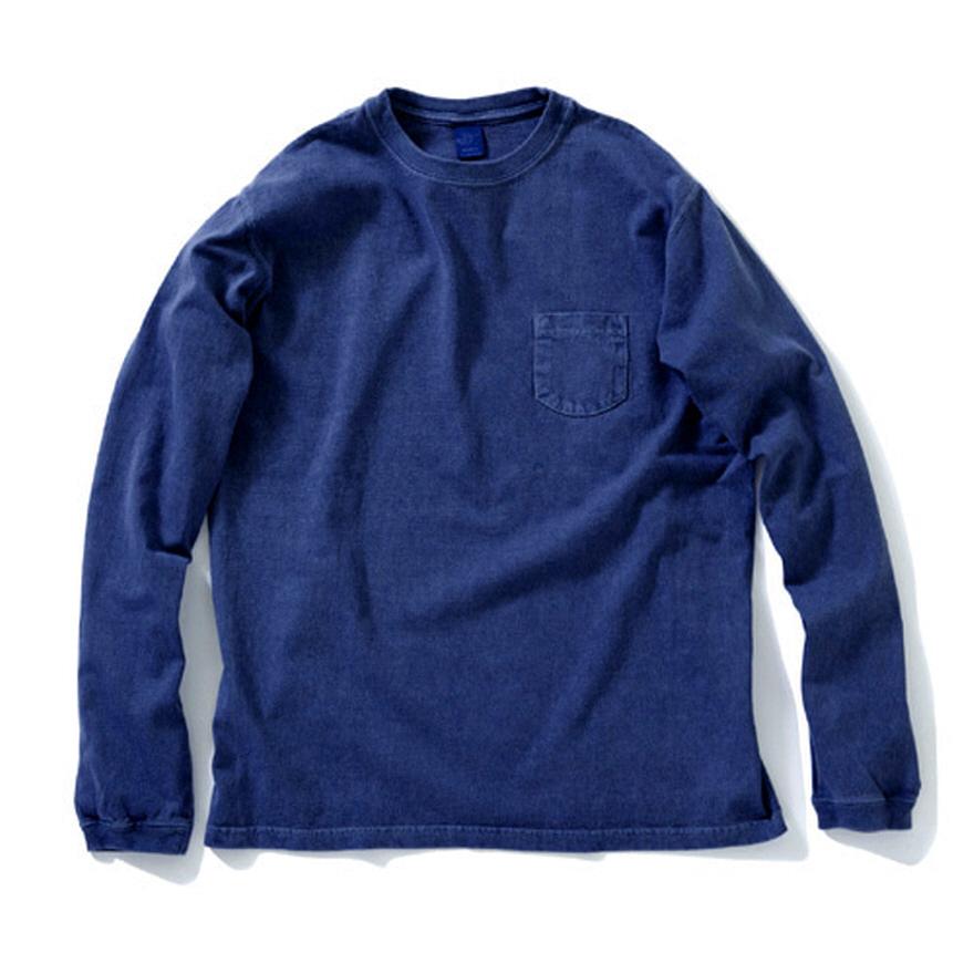 굿온 Pocket Long T-Shirts - Indigo