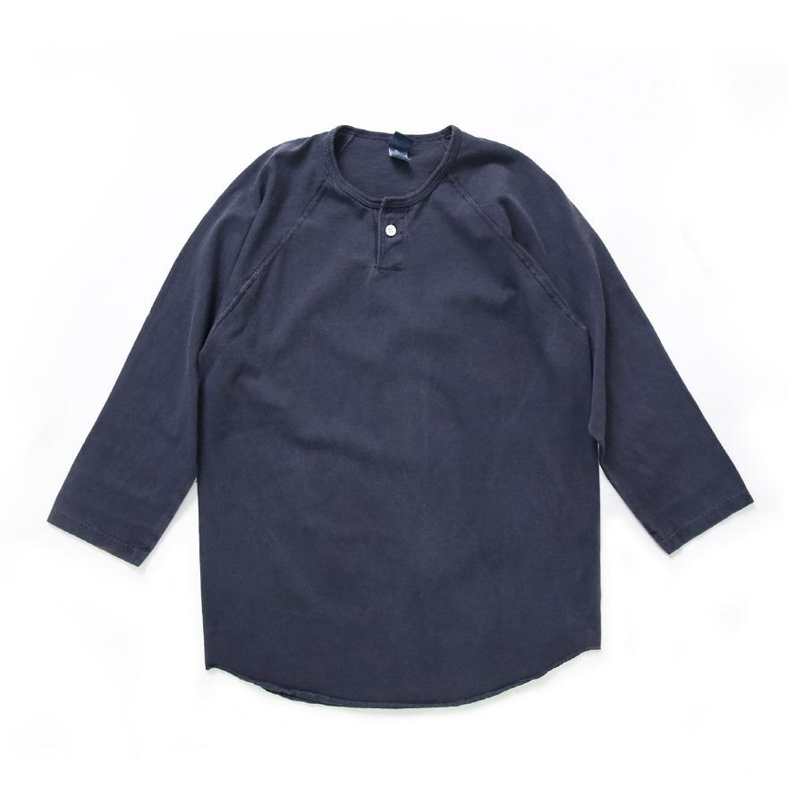 베이스볼 9부 원버튼 티셔츠 - 피그먼트 네이비