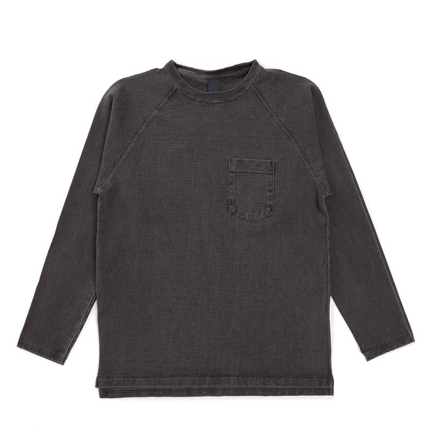 9oz 헤비코튼 포켓 긴팔 티셔츠 - 피그먼트 블랙