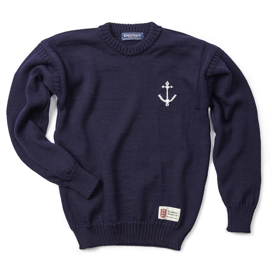 건지 크루넥 스웨터 - Navy