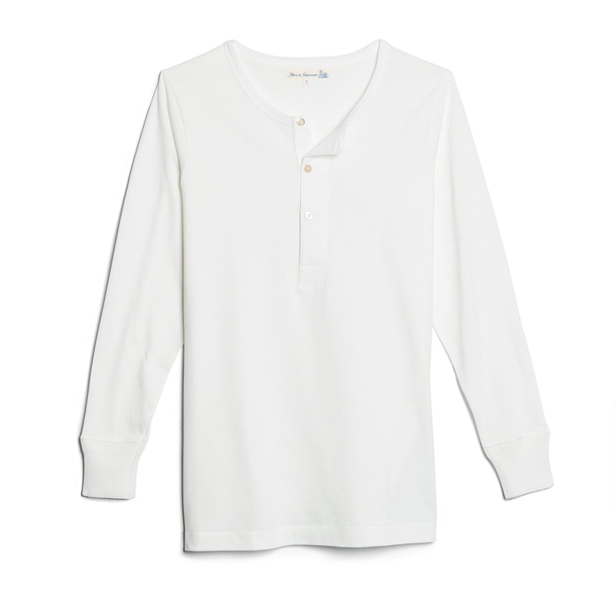 206 Henley Neck Long Sleeve - White