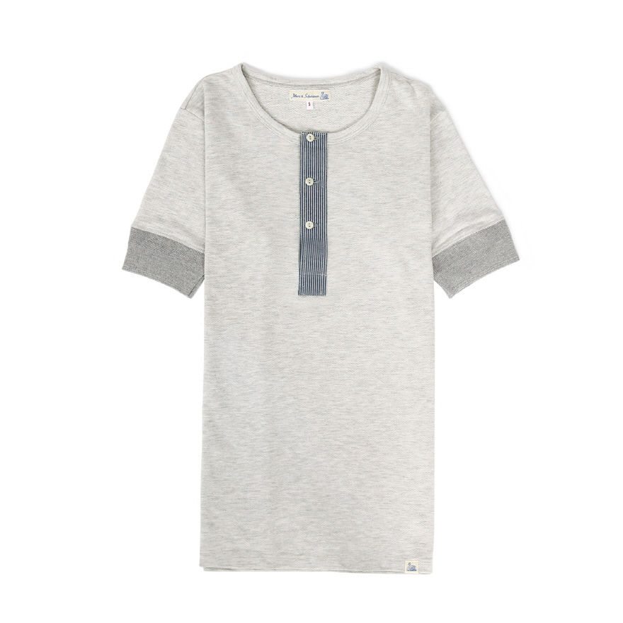 [진열상품] 2P27 Fabric Mix Henley - Grey Mel
