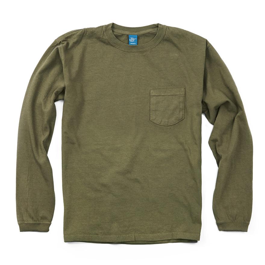 5.5oz 포켓 긴팔 티셔츠 - 피그먼트 올리브