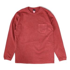 5.5oz 포켓 긴팔 티셔츠 - 피그먼트 레드