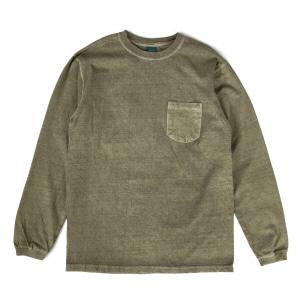 5.5oz 포켓 긴팔 티셔츠 - 피그먼트 세이지