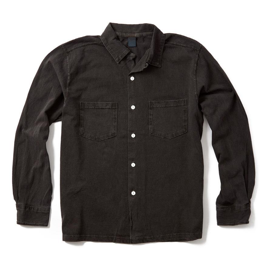 오픈 카라 긴팔 셔츠 - 피그먼트 블랙
