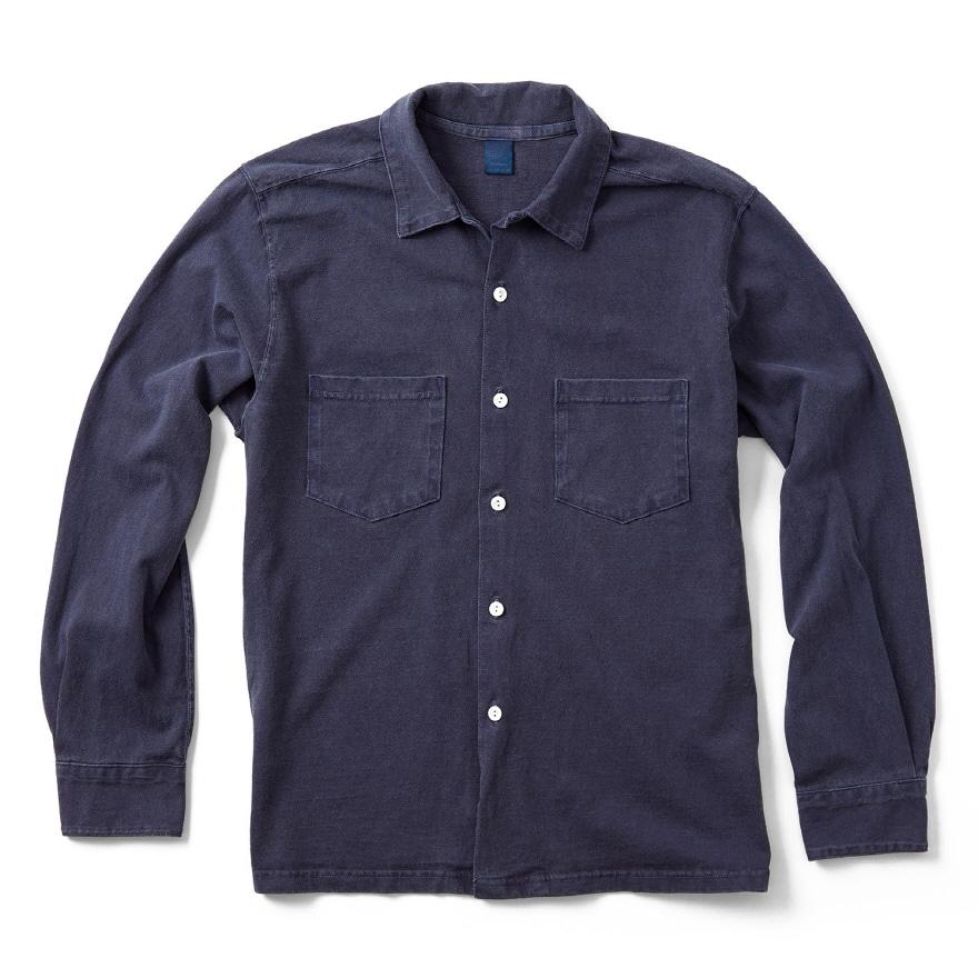 오픈 카라 긴팔 셔츠 - 피그먼트 네이비