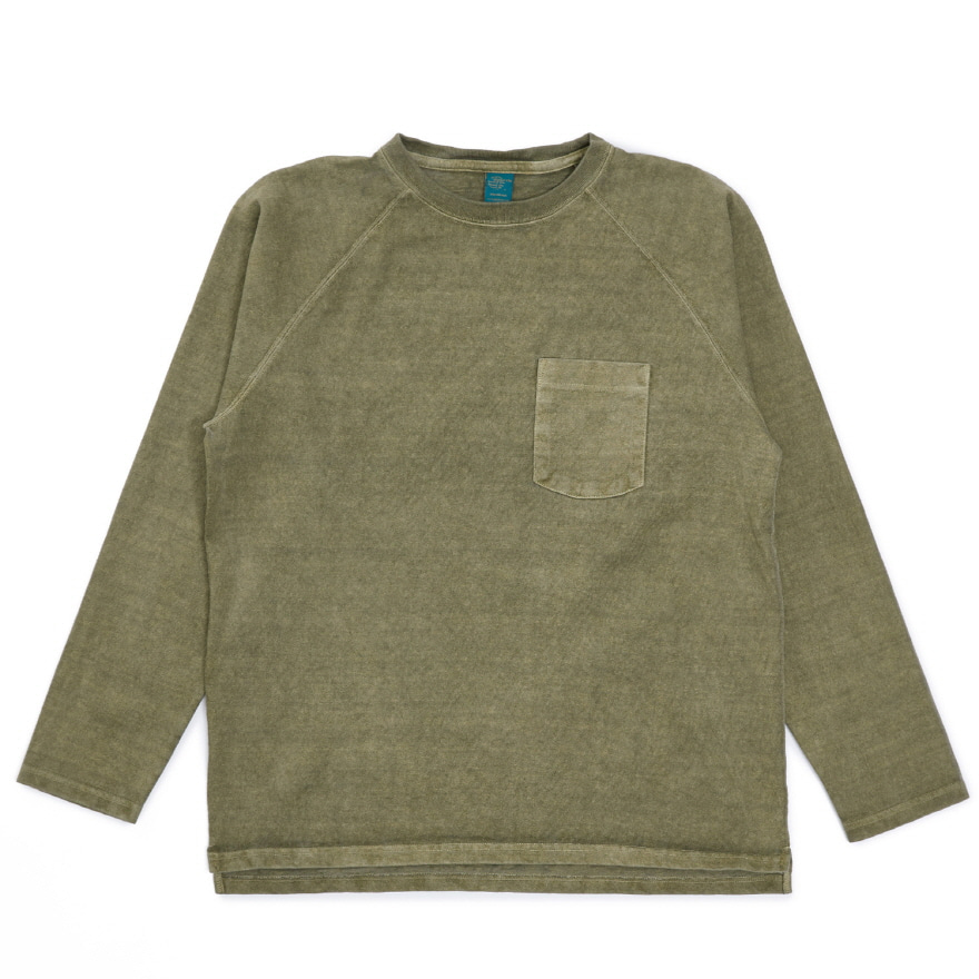 9oz 헤비코튼 포켓 긴팔 티셔츠 - 피그먼트 세이지