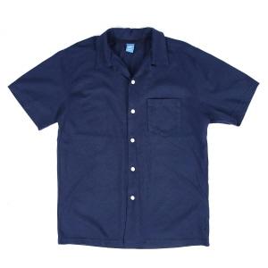 오픈 카라 반팔 셔츠 - 네이비