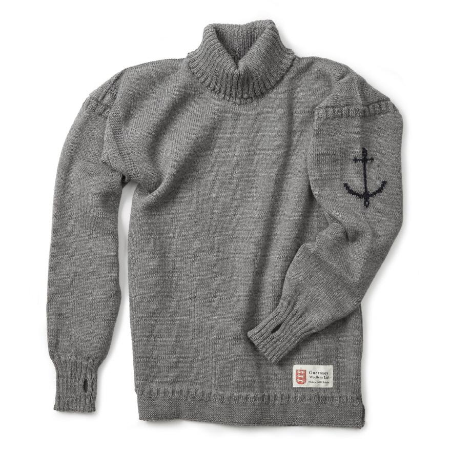 건지 터틀넥 스웨터 - Light Grey