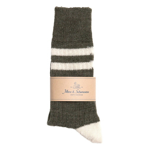 [진열상품] S75 Socks With Stripes - Army/Nature