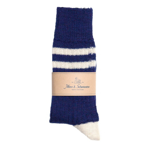 S75 Socks With Stripes - Ink Blue/Nature