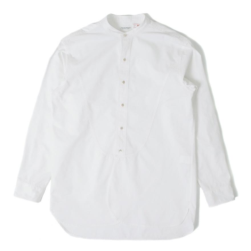 Band Collar Long Shirts - Off White